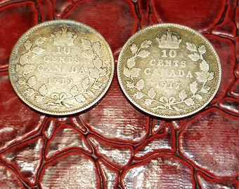 Set of 2 -10 cents Canada 1917,1919