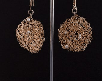 goldfield earrings knitted with pearle stnone , length 5.5 cm., diameter 2.8 cm.