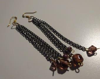 Purple Chain Earrings