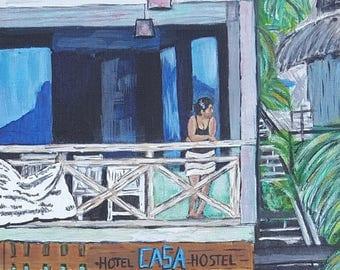 "Giclee Print on Canvas ""Chicatana Hotel"""