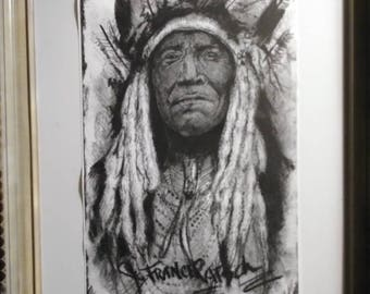Beautiful charcoal and graphite limited edition native american print