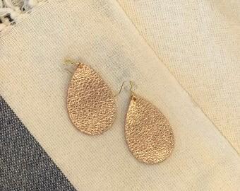 Rose gold (lg) leather teardrop earrings