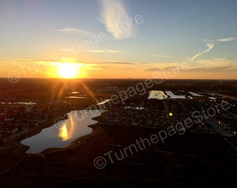 Sunset Paragliding above Pearland Texas, Instant Download, Digital Printable, Fine Art Digital Photo, Photography