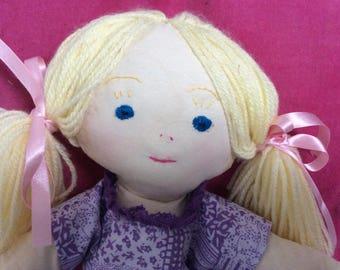 Blonde Hair,  blue Eyes, white skin fabric doll