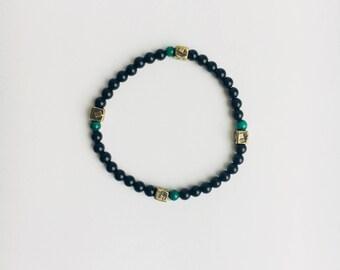 Onyx and malachite stretch bracelet