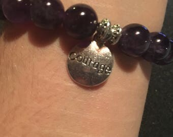 Amethyst with Accents and Courage Charm