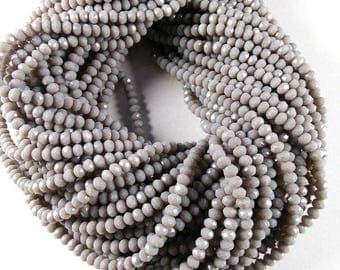 "Gray Hydro Chalcedony, Gray Hydro Beads, Chalcedony, Faceted Chalcedony, 3-3.5mm Gray Chalcedony, 13"" Long Strand For Making Jewelry Beads"