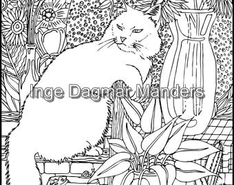 Cat in the garden, Adult coloring page JPG.