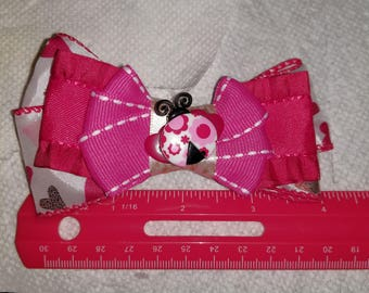 Hearts and Ladybug Valentine's Day Hair Clip