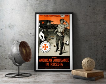 American Propaganda Poster World War I Red Cross Russian Front - Framed or Unframed Wall art military decor vintage replica ww1 wwi russia