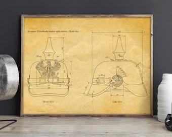 "Spiked Helmet ""Pickelhaube"" Patent Print, - WW1 German Prussian Army Helmets , military technical drawing (blueprint), austrian, war, hat"