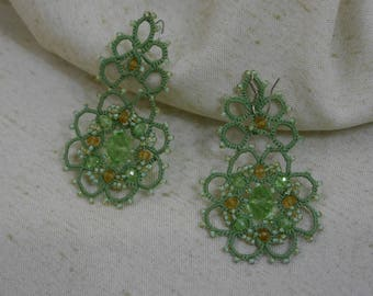 jewelry, lace, frivolite, ancars, hand made, earrings