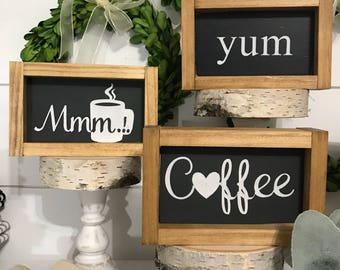 Mini signs - Coffee, yum