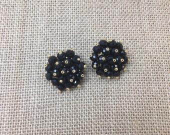 Vintage Cluster Clip-on Earrings, Black Crystal and Beads Vintage Earrings