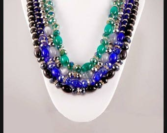 Green cats eye and crystal necklace