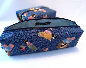 "Pencil Case // ""Blå Geisha Penalhus""// Office // Back To School // Zipper Pouch// Gift // Japanese // Handmade //Charger Storage"