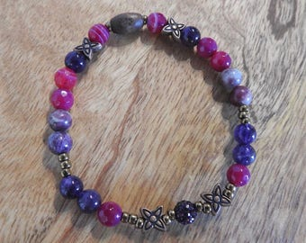 Natural Amethyst, Fuchsia Madagascan Agate & Black Tourmaline healing gemstone stretch bracelet with Purple Pavé spacer.