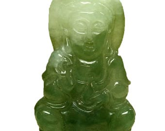 Certified Oily Green  Natural Grade A Jade jadeite Guanyin Lotus Pendant 258