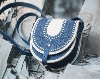 Round shoulder bag, blue leather purse, blue bag with metal, embossed bag, crossbody bag, tooled black bag, gift for her, unique purse
