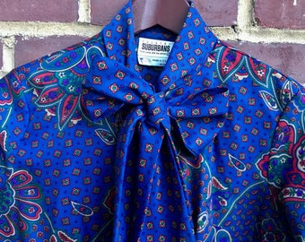 Vintage Paisley Blouse with Bow