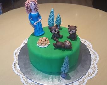 Cake topper Merida Brave and 3 little bears