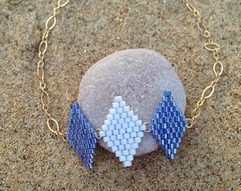Diamond bracelet sky blue MIYUKI beads woven hand with gold filled chain