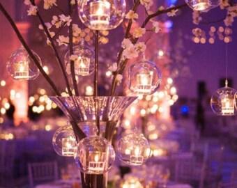 """24 SALE 5.5"""" Hanging Orbs Terrariums Votive Holder Candle Holder Tea Light Centerpieces Wedding Centerpieces Floral Arrangements Wholesale"""