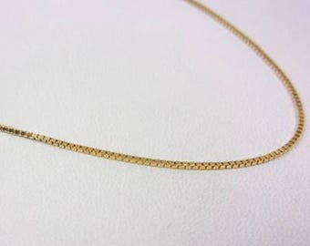 "Solid 14K Yellow Gold 20"" 0.9mm Box Link Chain Necklace, 2.5 grams"