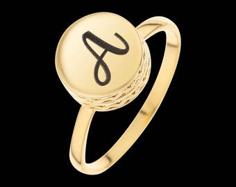 Gold Letter Ring - Personalized Ring - Personalized Signet Ring - Custom Ring - Personalized Jewelry - Personalized Gift - Engraved Ring