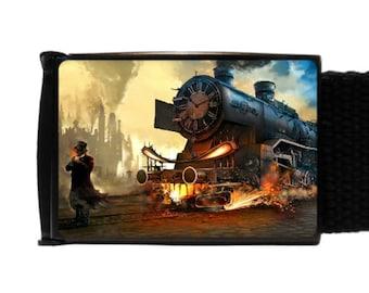 Steampunk belt canvas belt new train