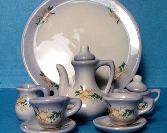 """MINI tea set (10 PC) NEW 3 3/8""""round tray ceramic-handcrafted artist made signed"""