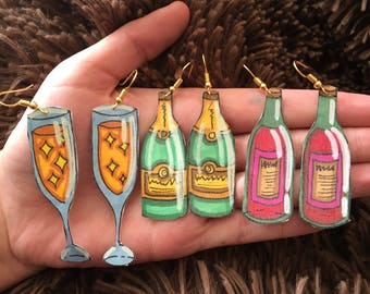 Hand-Drawn Red Wine + Champagne Earrings