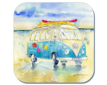 Surfing - Camper Van Coaster (Corked Back). From an original Sheila Gill Watercolour Painting