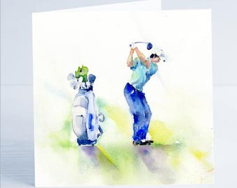 Keep your Eye on the Ball , Golf Greeting Card - Taken from an original watercolour.