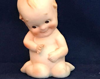 "Adorable Lefton Kewpie 5.5"" Paino Sitting Baby"