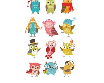 Cute Cartoon Owl Iron-on Transfers - Washable (12 on each sheet )
