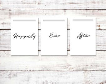 Happily Ever After Printable, Instant Download, Bedroom Sign, Wedding gift idea, Wall Decor, Quote, Farmhouse Decor, Cursive Quote