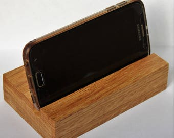 Phone stand, holder. Wooden ipad stand. Phone stand, holder, dock. Solid oak. Ideal for tablets or smartphones.