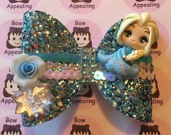 Handmade blue glitter bow, girls hair accessory, girls party hair, girls costume