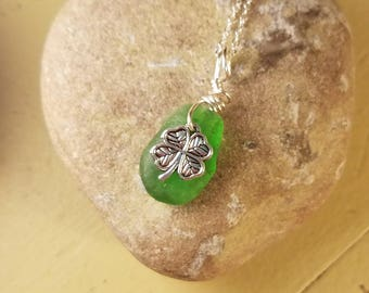 Green Beach Glass Necklace with Lucky Charm