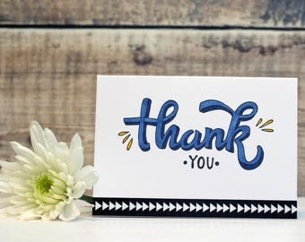 """Thank You Cards/Notecards, set of 3, one each of 3 colours (pink, dark blue and green), size A7 3""""x4"""""""