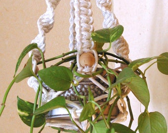 Beautiful small macrame plant hanger with beads/cotton rope/bohemian