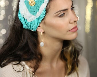 turquoise white HeadBand Wonderfully Tichel  Lace  Bandana, Head Covering,scarf, Half Coveing,turban,loss Hair,wig, solid covered full head