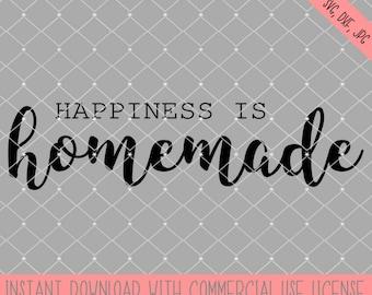 Happiness is homemade svg cut file, farmhouse dxf digital download, cricut design space file, silhouette cameo cut file, family cut file