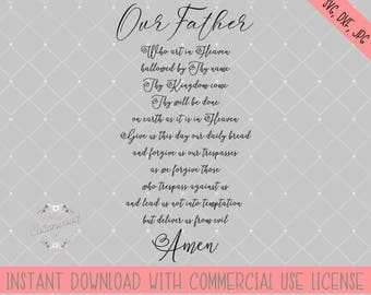 Lords Prayer cut file, Our father who art in Heaven prayer cut file, Lords prayer svg file, Lords prayer silhouette file, Spiritual cut file
