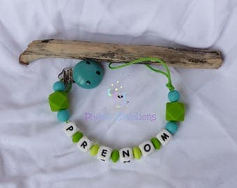 Personalized baby, silicone pacifier turquoise blue and green