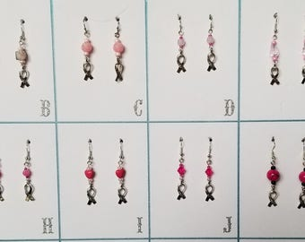 Breast Cancer Hope Ribbon Handmade Earrings