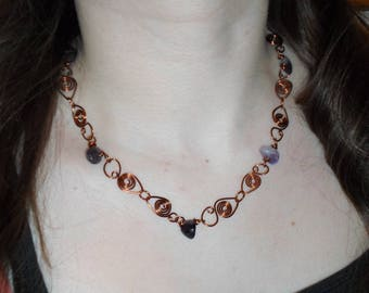 Wire wrapped Amethyst/Tigers Eye/Carnelian/Turquoise necklace