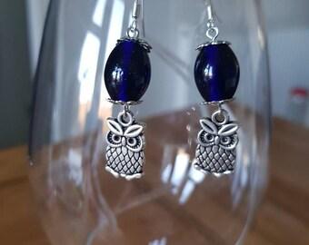 Blue glass bead owl drop earrings