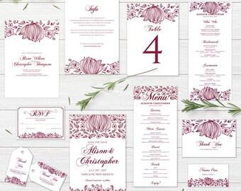 Marsala floral Wedding Invitation suite Bohemian Wedding Invite kit Rustic Floral Wedding Invitation Boho Chic printable Burgundy Pink suite